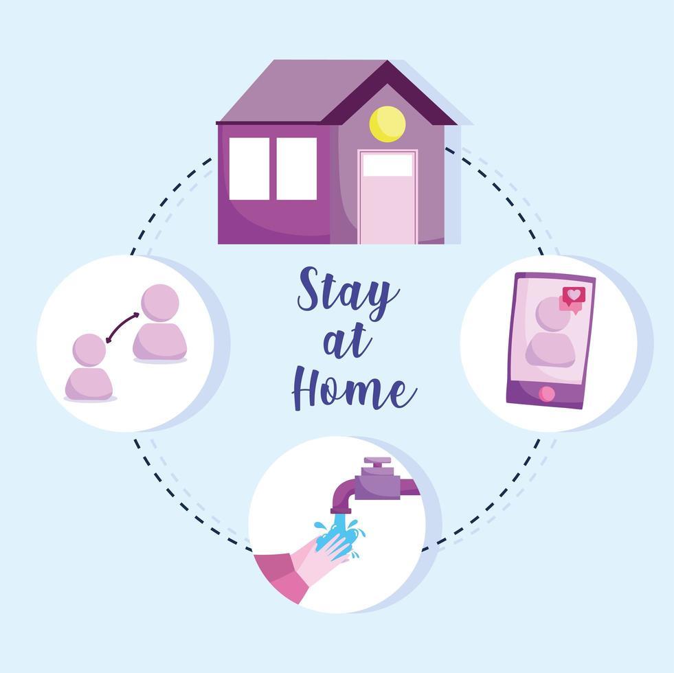 permanecer en casa infografía preventiva vector