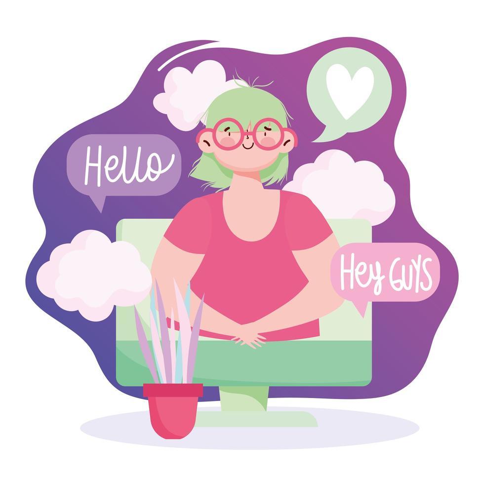 mujer con computadora hablando y conectándose en línea vector