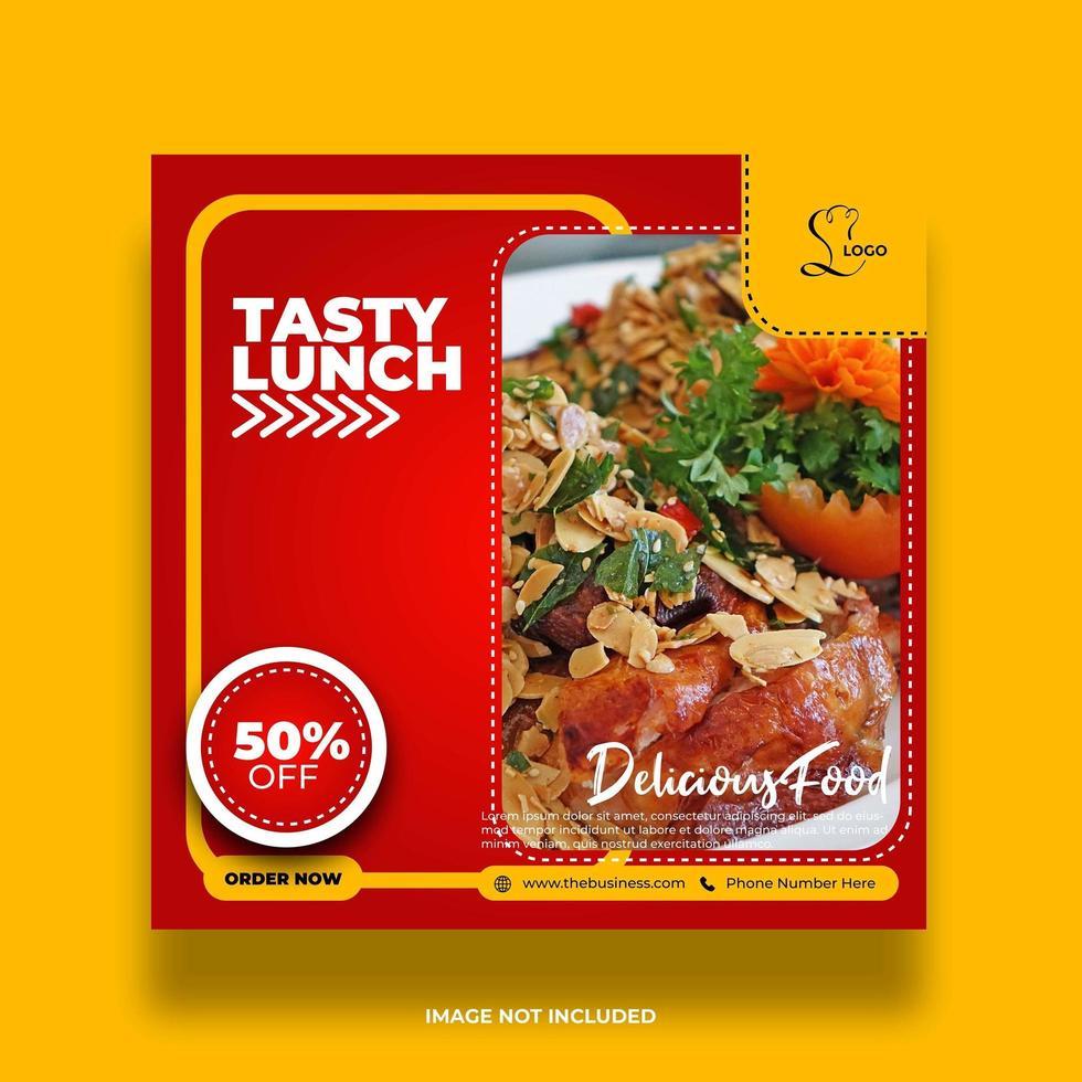 banner de comida abstracta mínima creativa para promoción banner de redes sociales vector