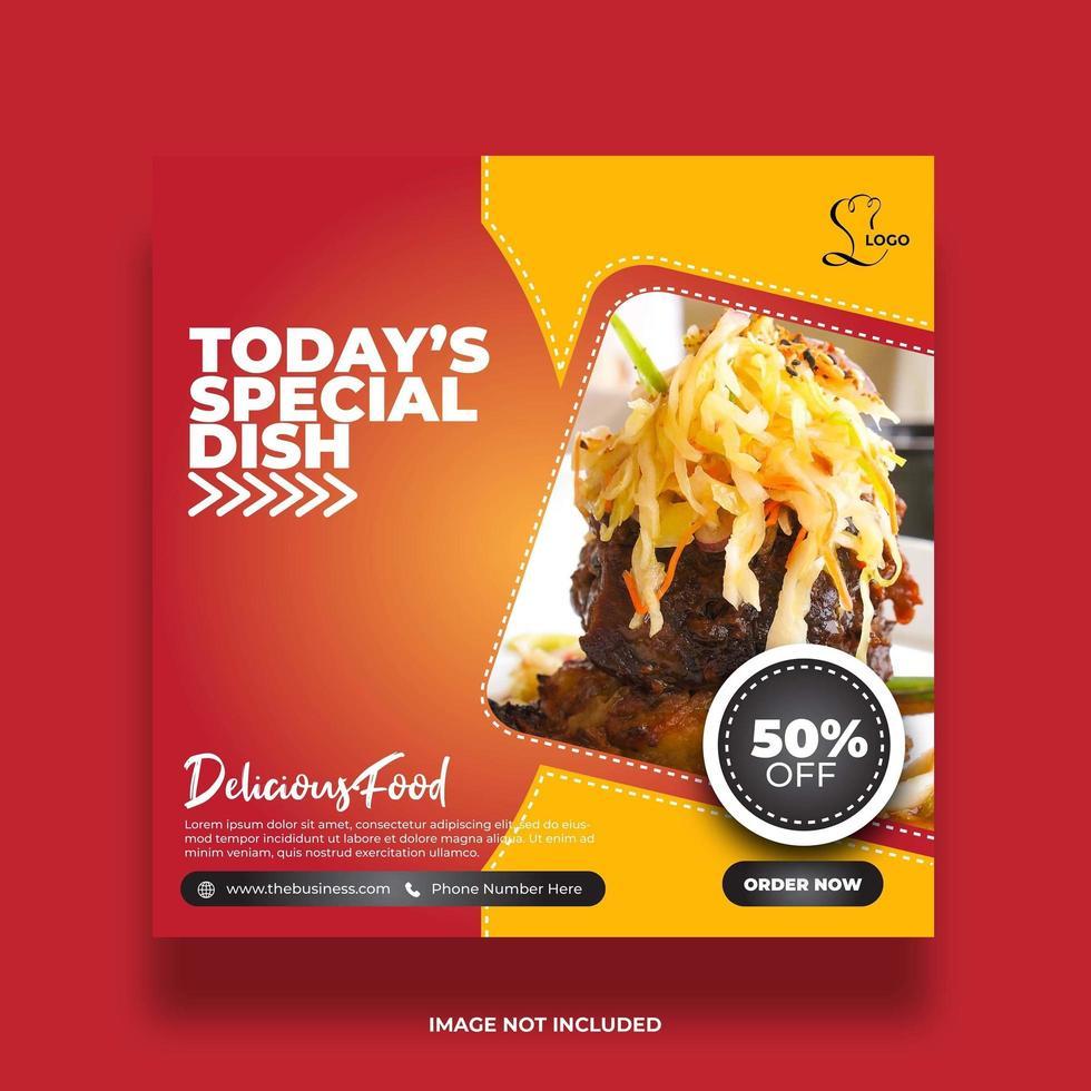 Banners creativos de comida abstracta mínima para publicaciones en redes sociales vector