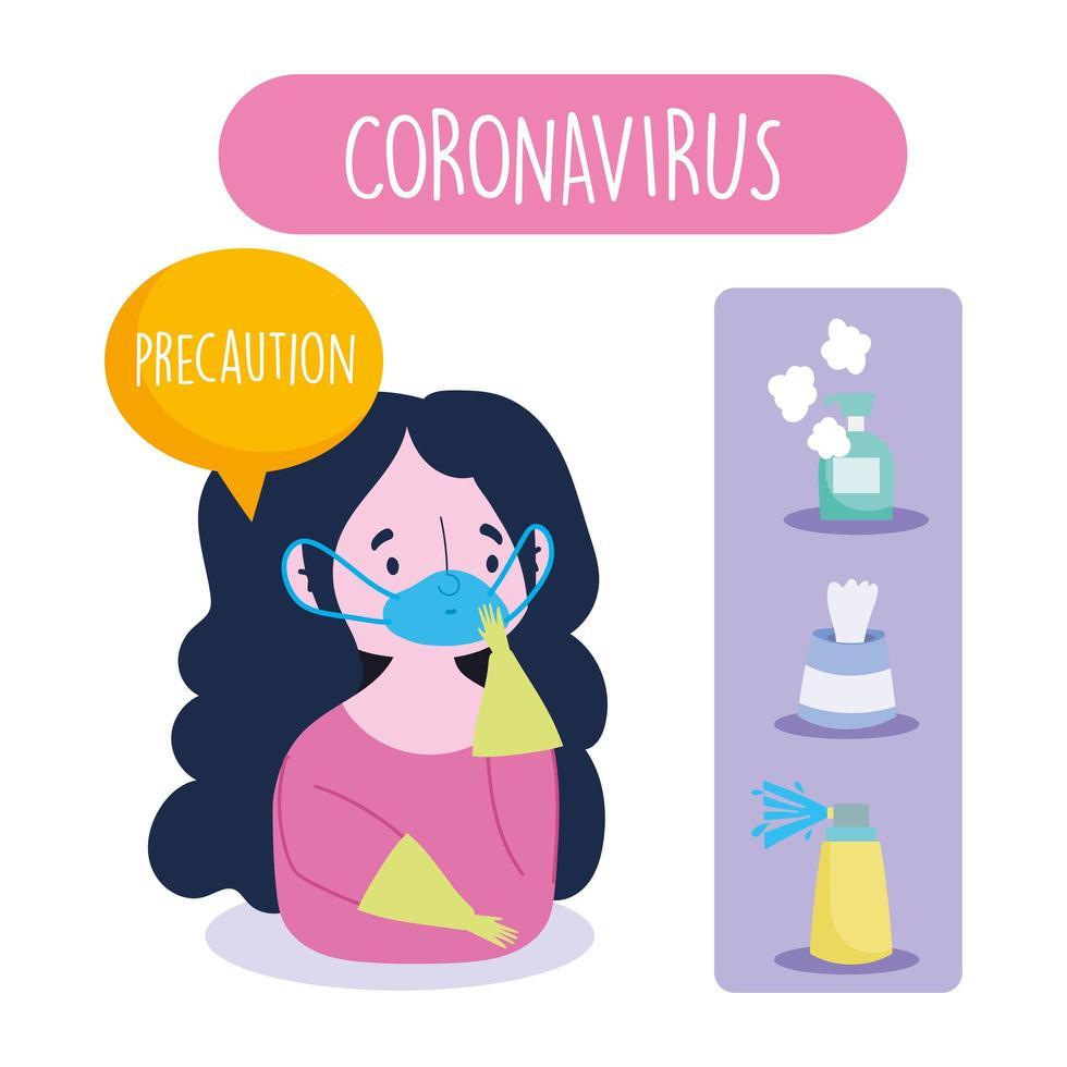 Girl wearing face mask and gloves on coronavirus preventive infographic vector