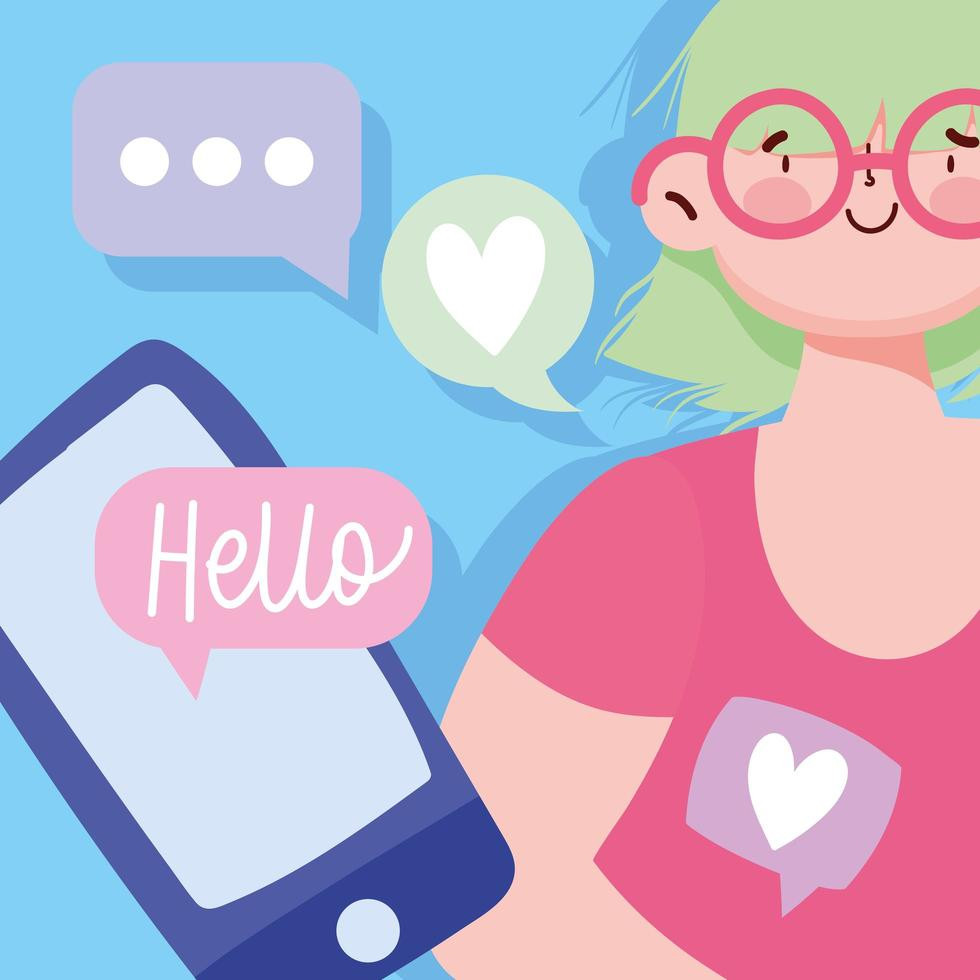 Young woman with a smartphone SMS chat vector