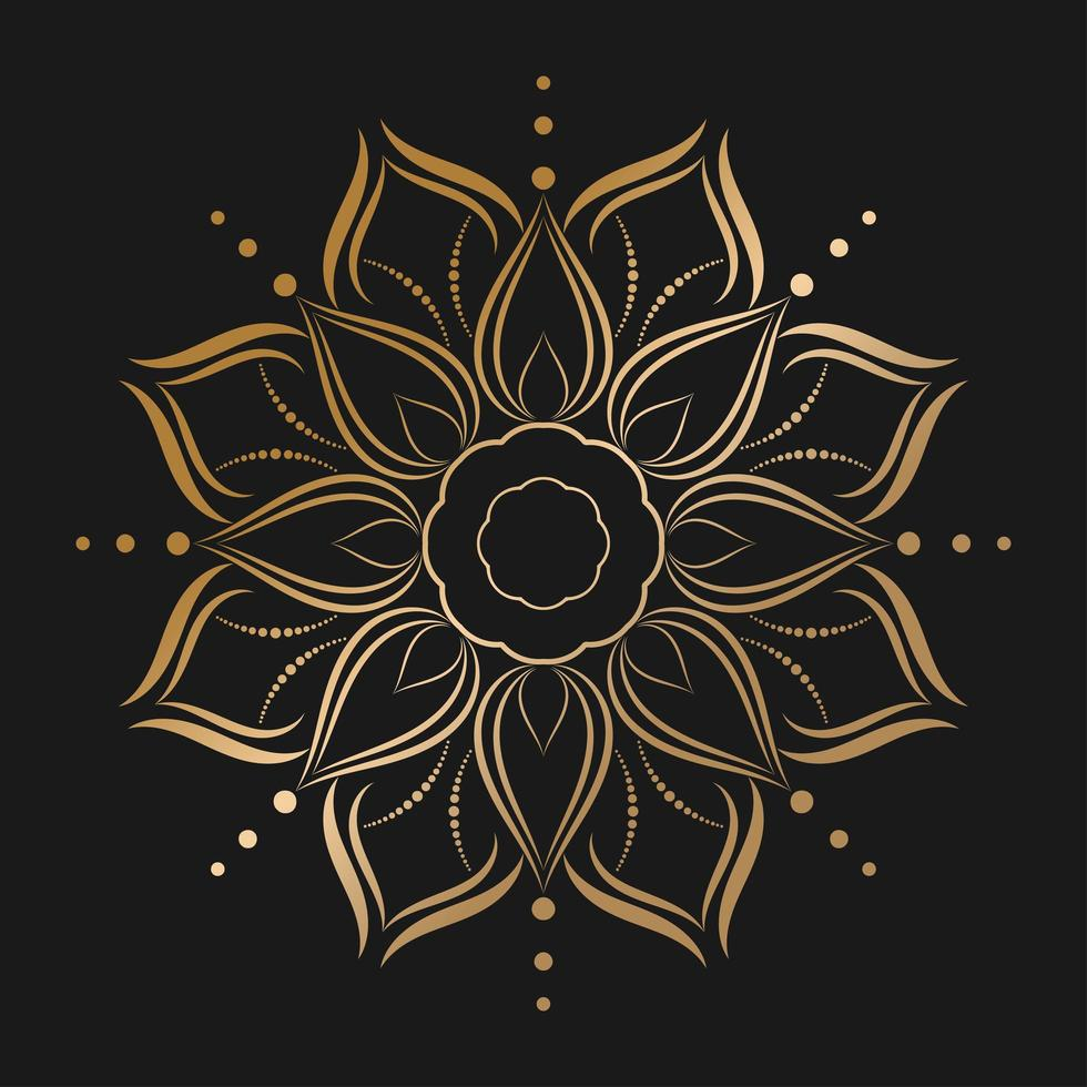 Gold mandala with flower style vector