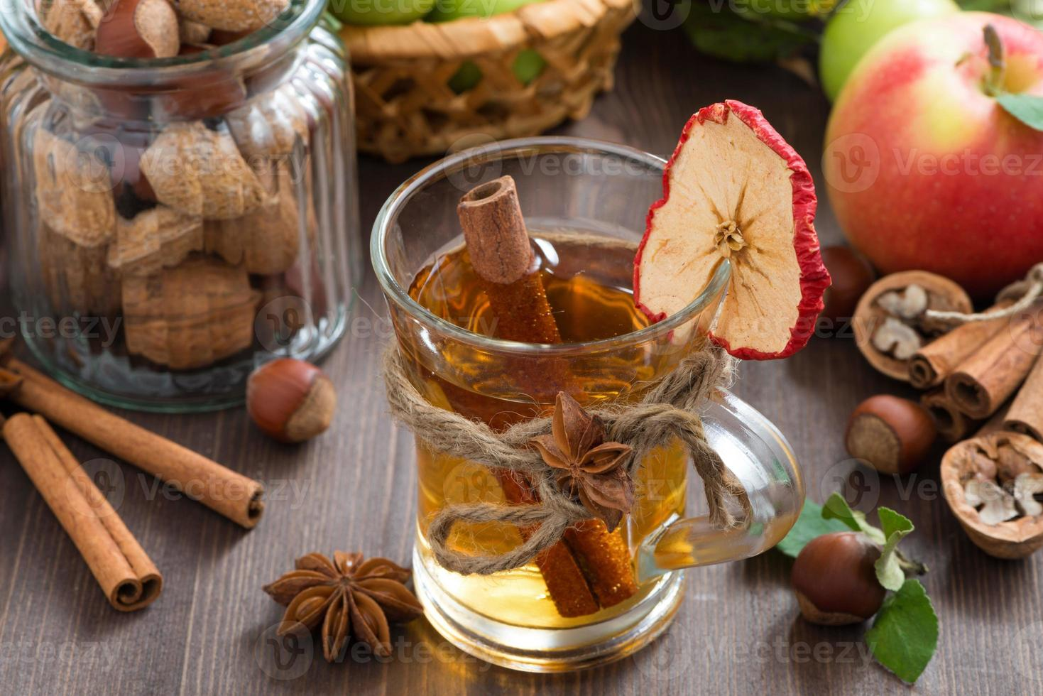 apple cider with spices in glass mug, top view photo