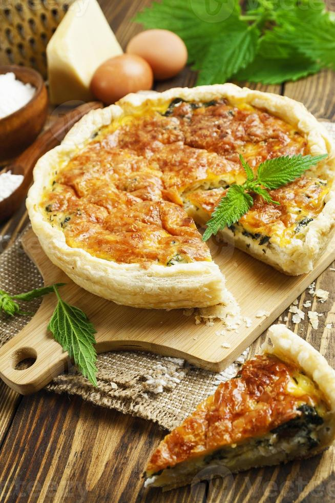 Pie with nettles and cheese photo