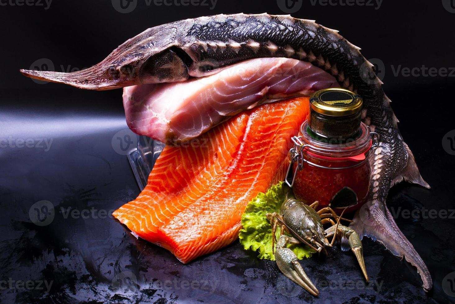 still life - caviar and fish photo