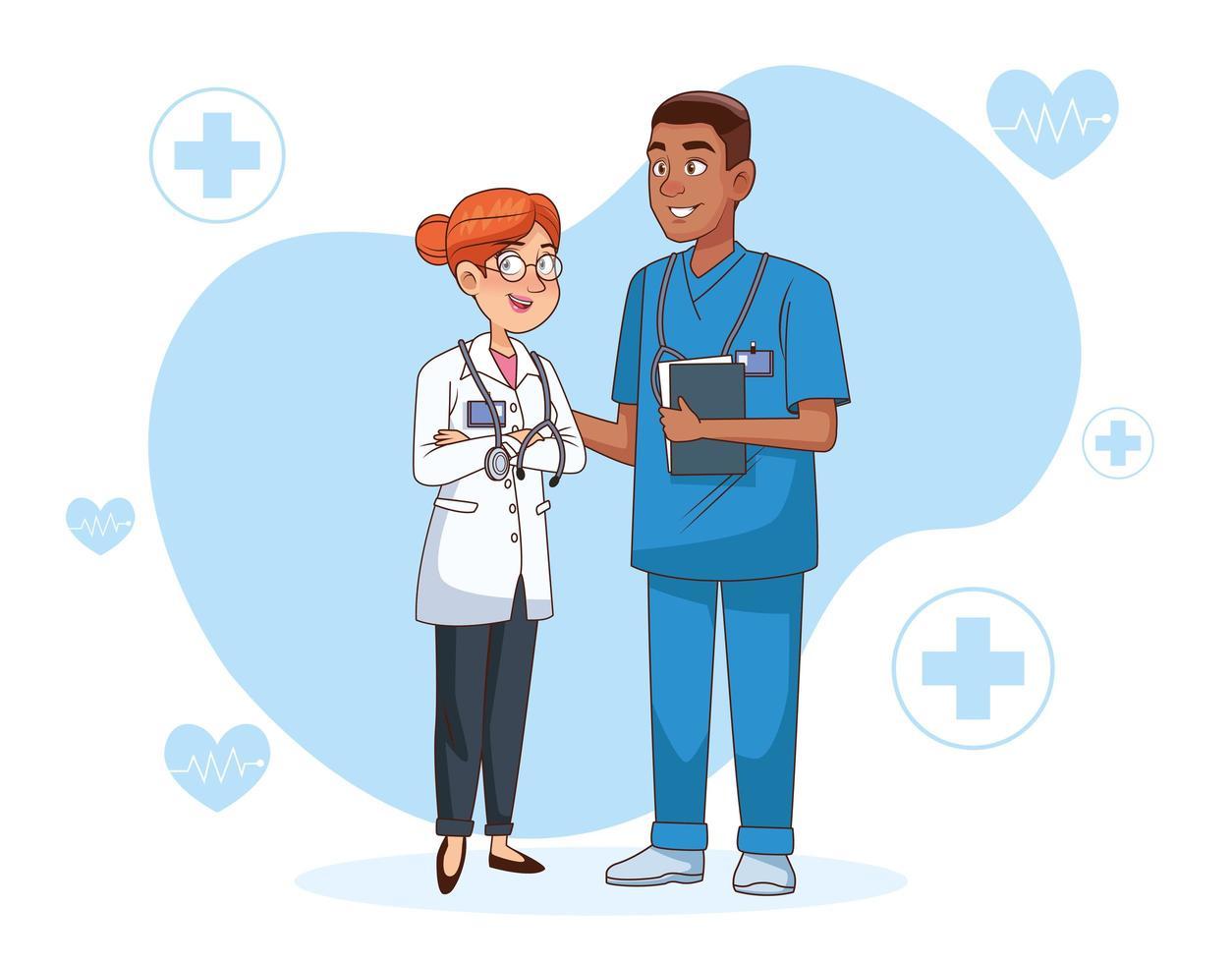 par de personajes médicos profesionales vector