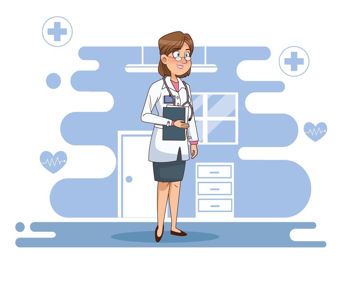 personaje de doctora profesional vector