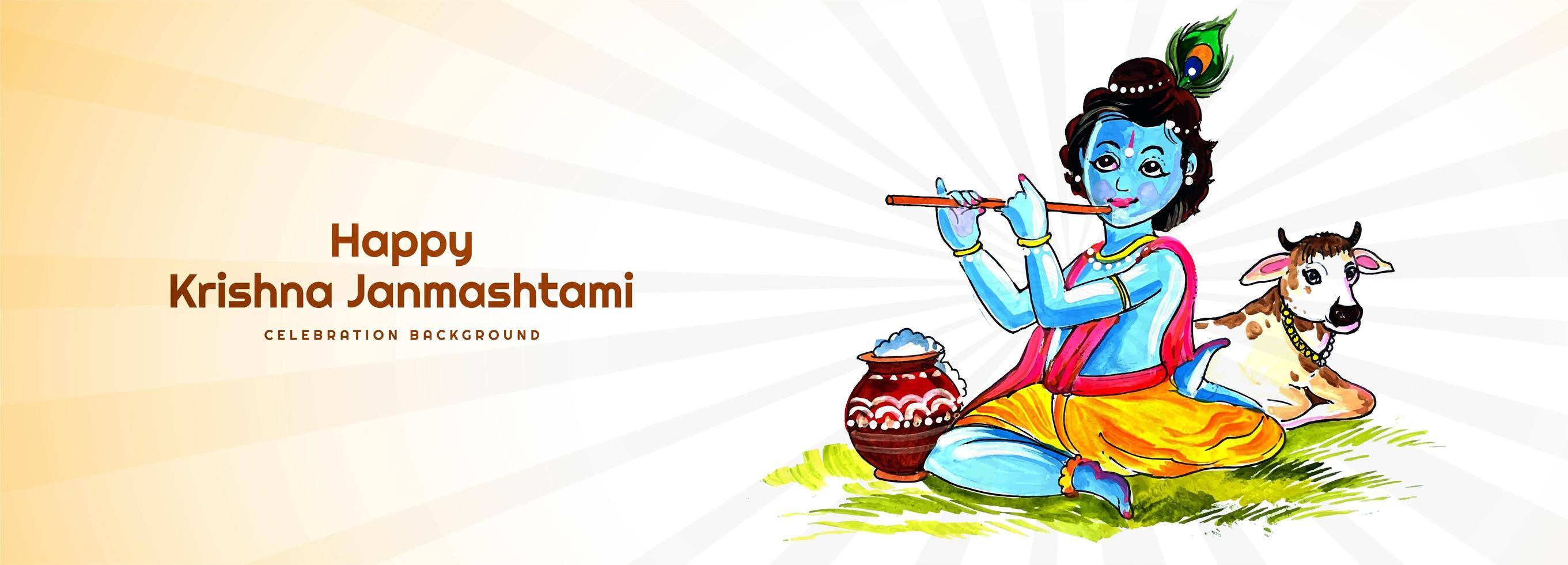 Happy Krishna Janmashtami Playing Flute Festival Banner vector