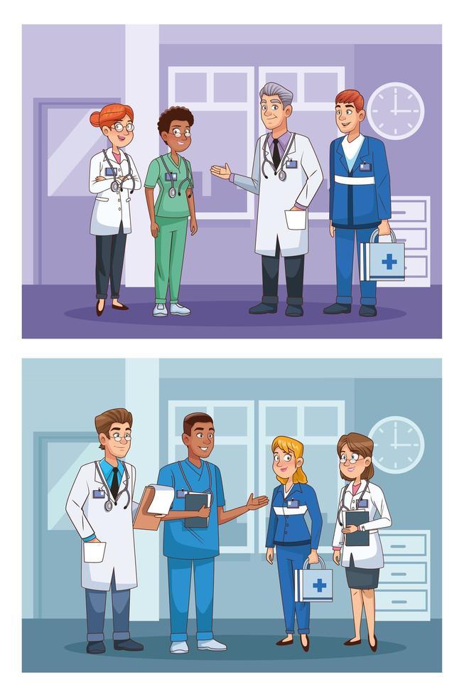 Establecer escenas de personal médico profesional. vector