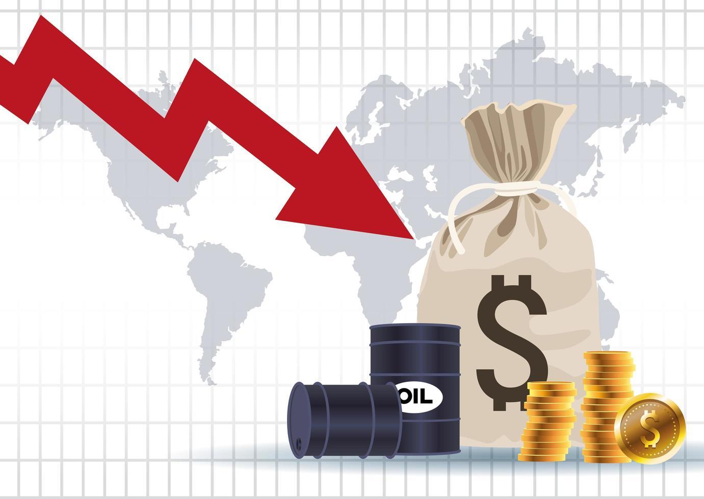 mercado de precios del petróleo con barriles y monedas bolsa de dinero vector
