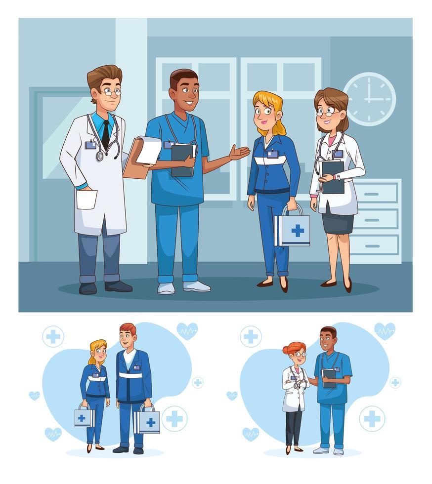 conjunto de escenas con personal médico profesional. vector