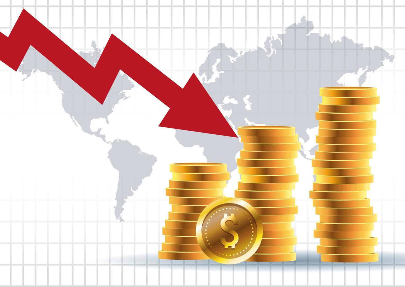 mercado de precios del petróleo con monedas vector