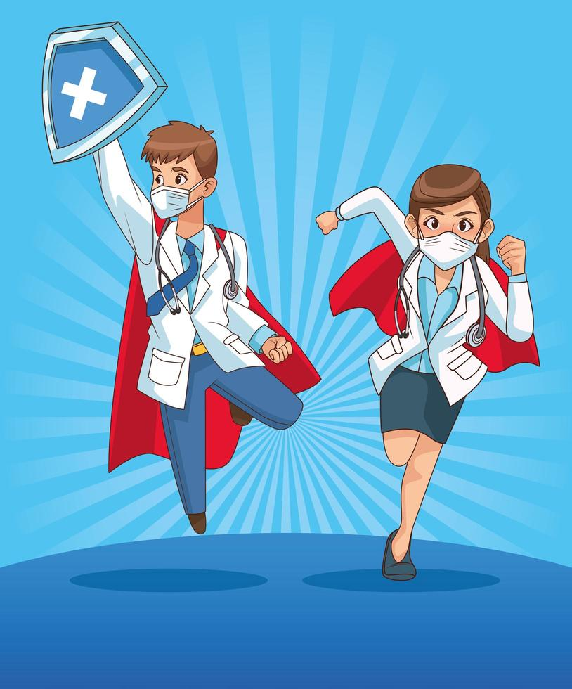 super doctores pareja personajes de cómic vector