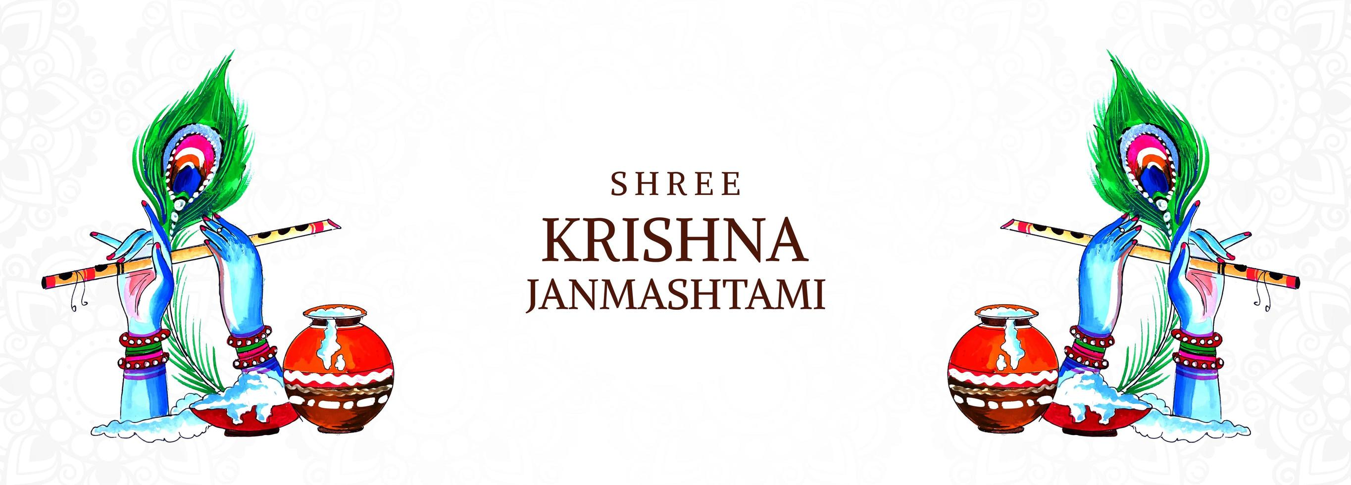 festival feliz krishna janmashtami manos y banner de flauta vector