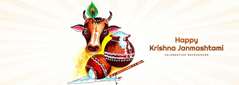 krishna janmashtami banner con dahi handi y vaca vector