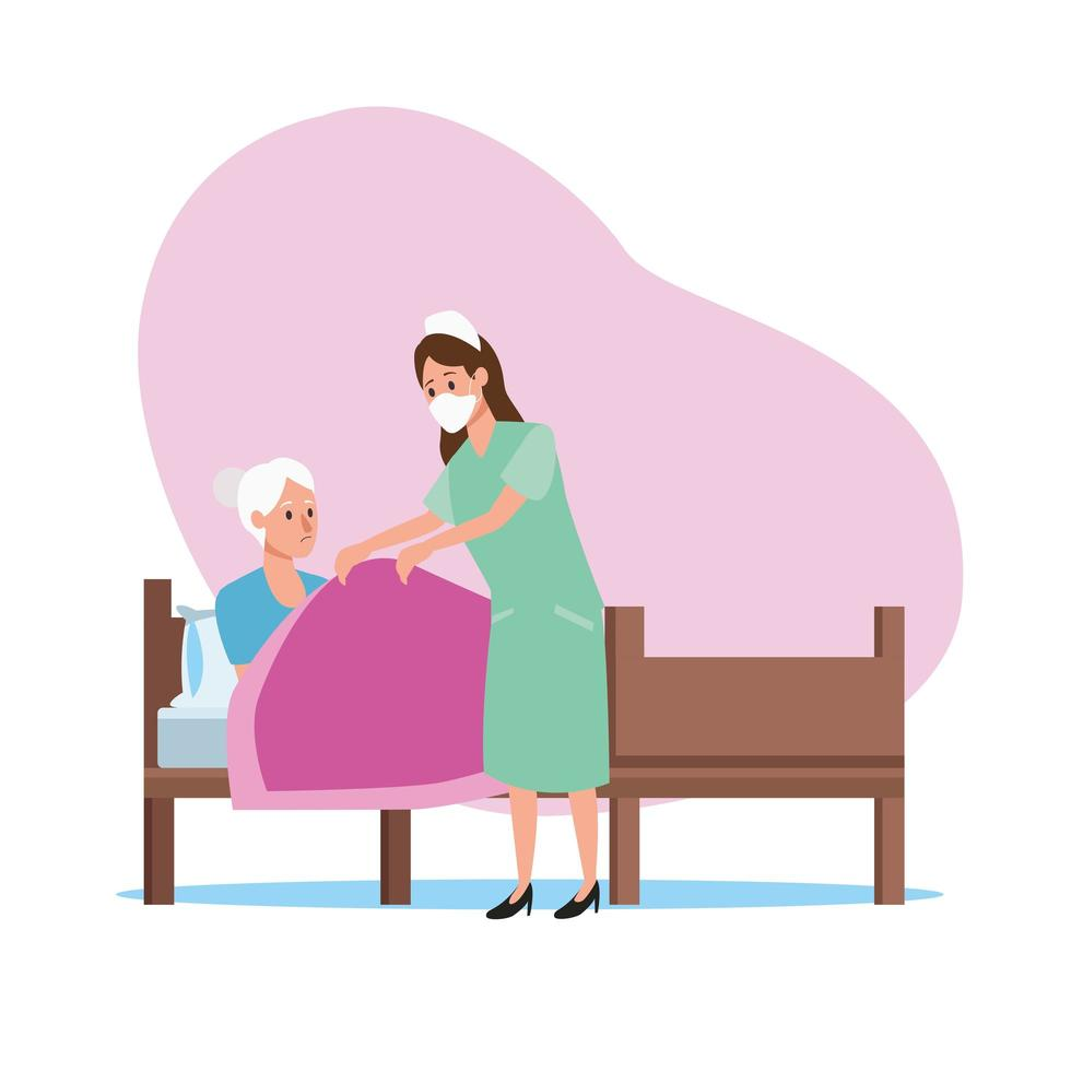 enfermera cuidando personajes de anciana vector
