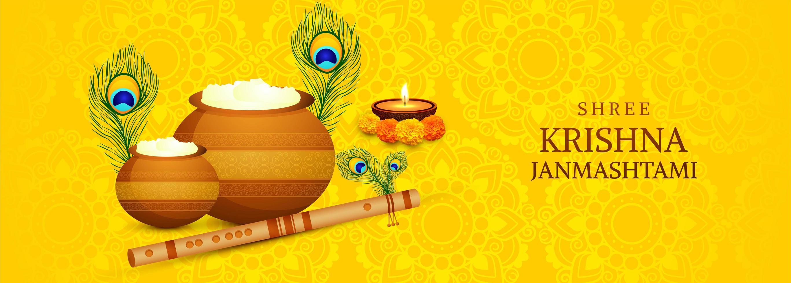 tarjeta del festival shree krishna janmashtami con banner de ollas vector