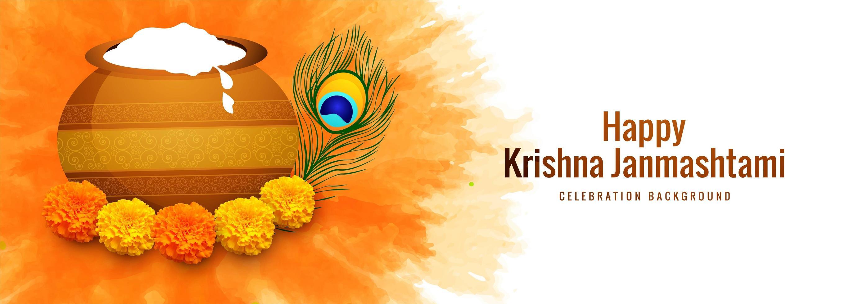 feliz celebración janmashtami tarjeta religiosa banner vector