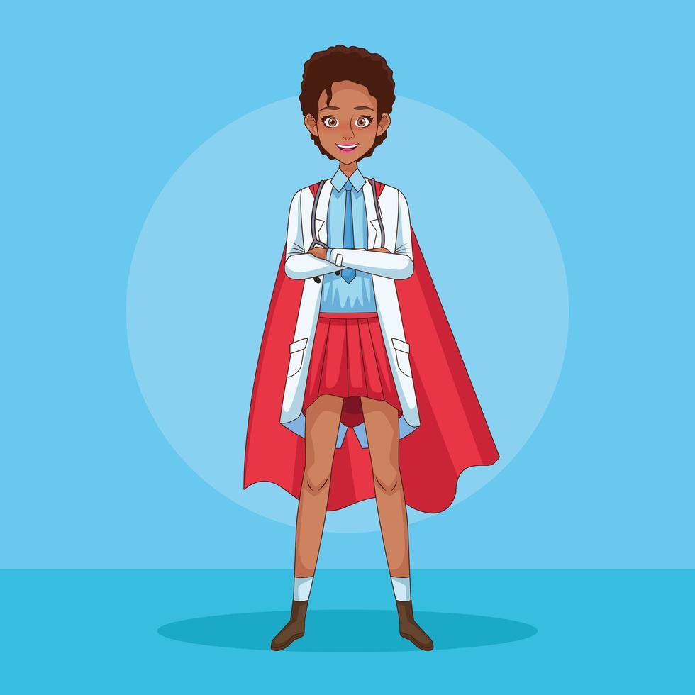 super doctora con capa de héroe vector