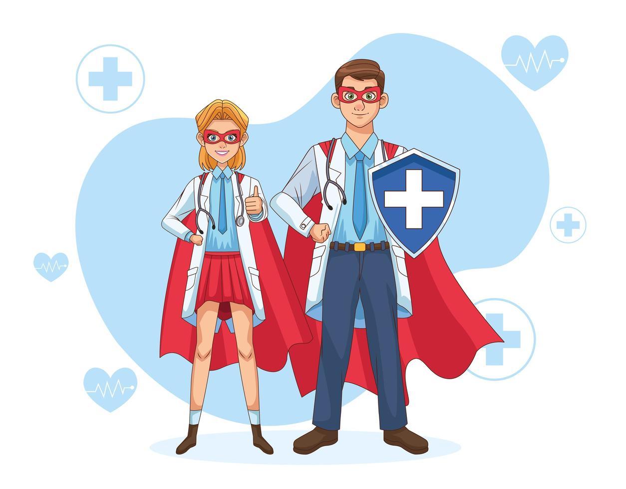 pareja de súper médicos con capa de héroe y escudo vector