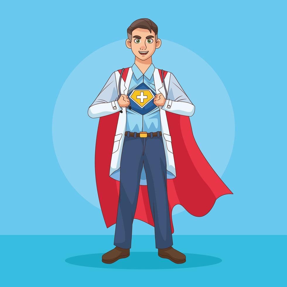 doctor que revela la identidad del superhéroe vector