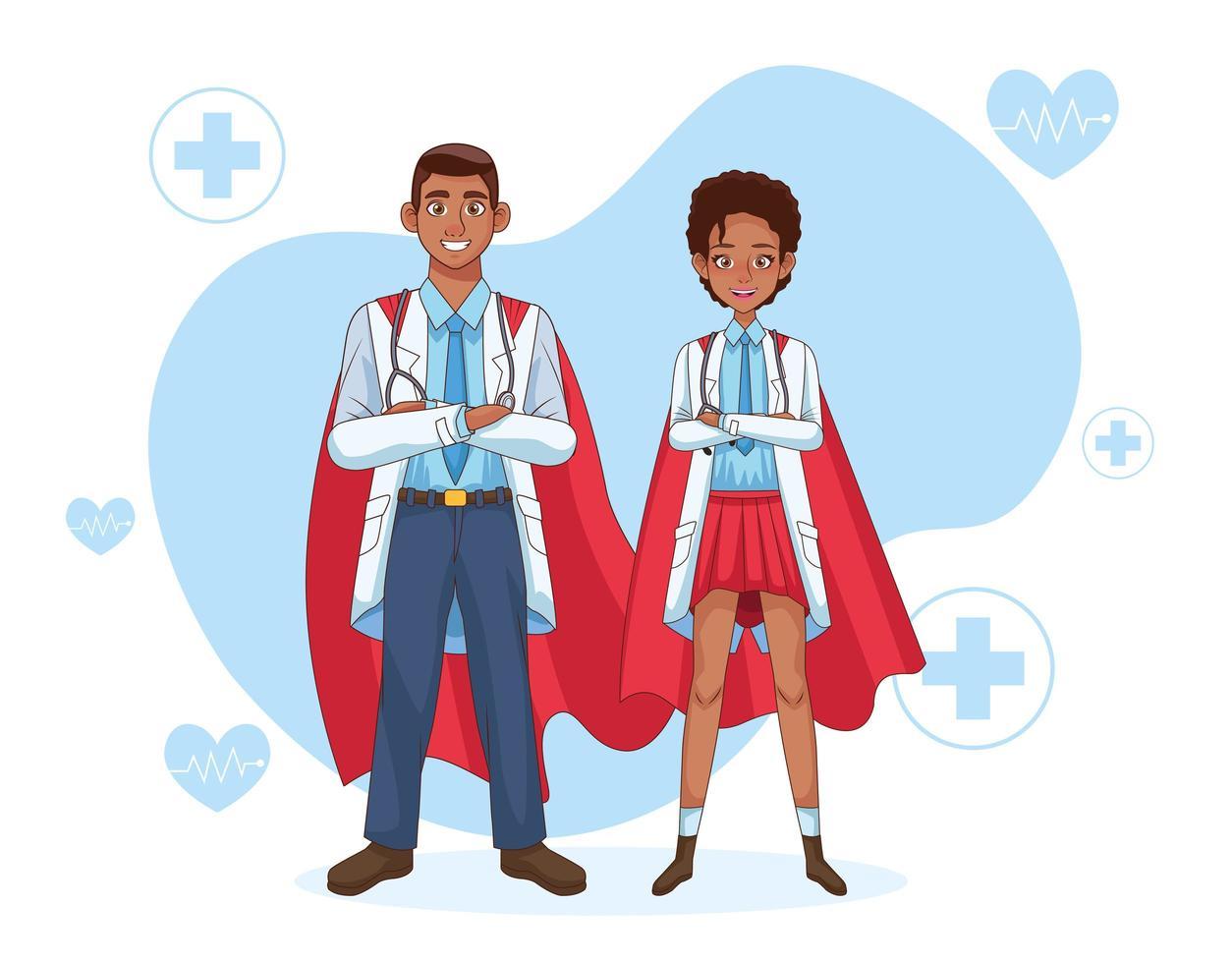 super doctor pareja en manto vector