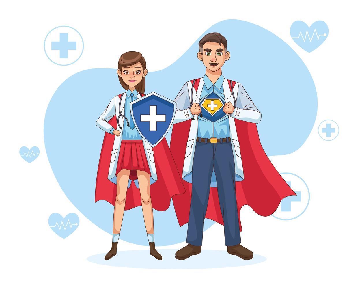 médicos con capa de héroe y escudo. vector