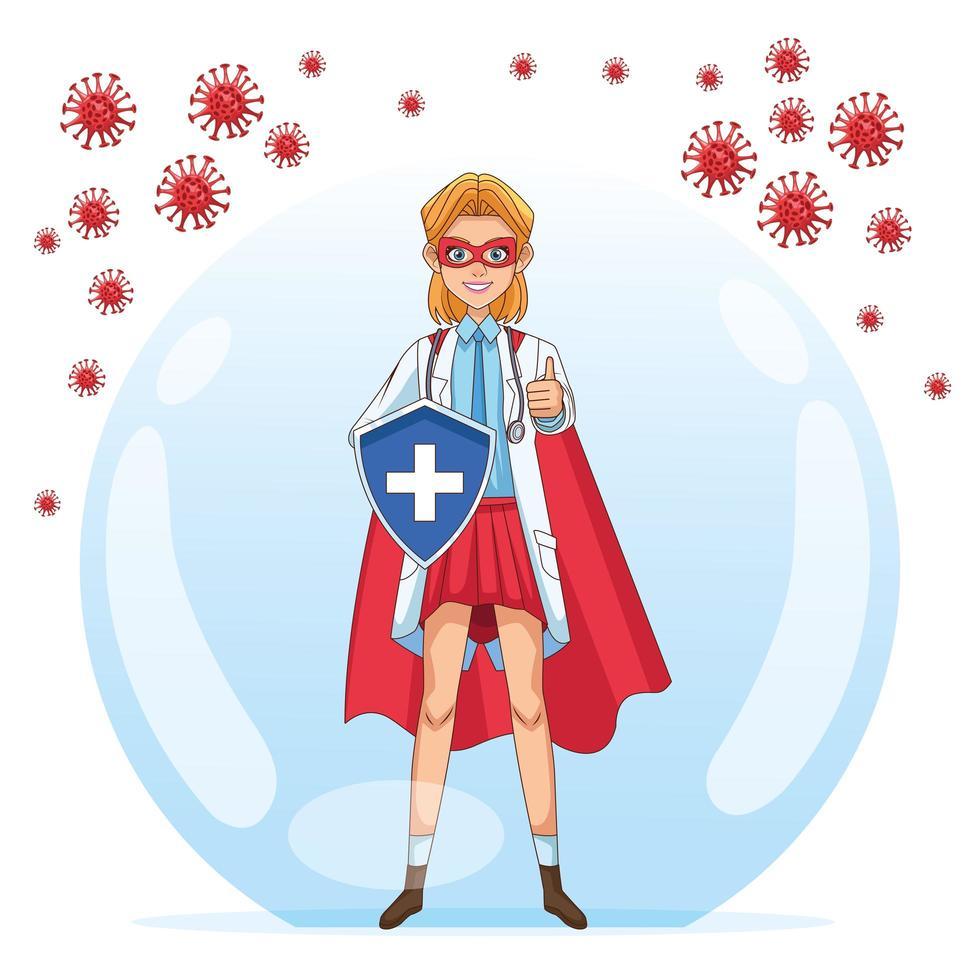 super doctora con escudo vs covid 19 partículas vector