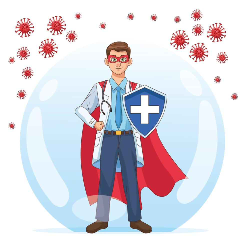 super doctor con escudo vs covid 19 partículas vector