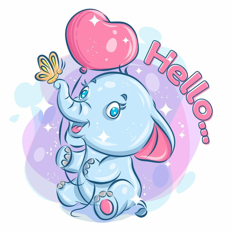 Cute Happy Elephant Holding Balloon and Playing with Butterfly vector