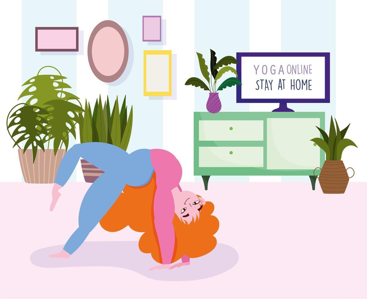Online yoga poster vector