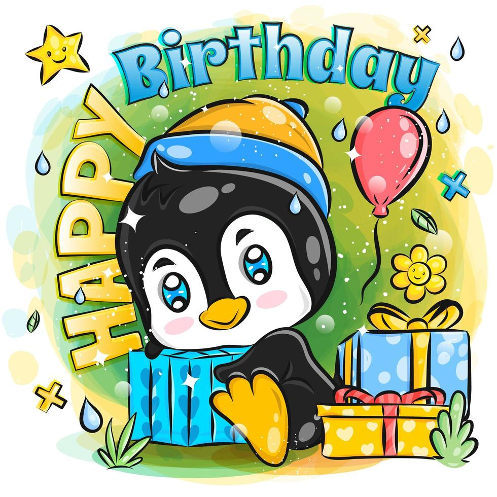 Cute Penguin Celebrates Birthday with Birthday Gifts vector