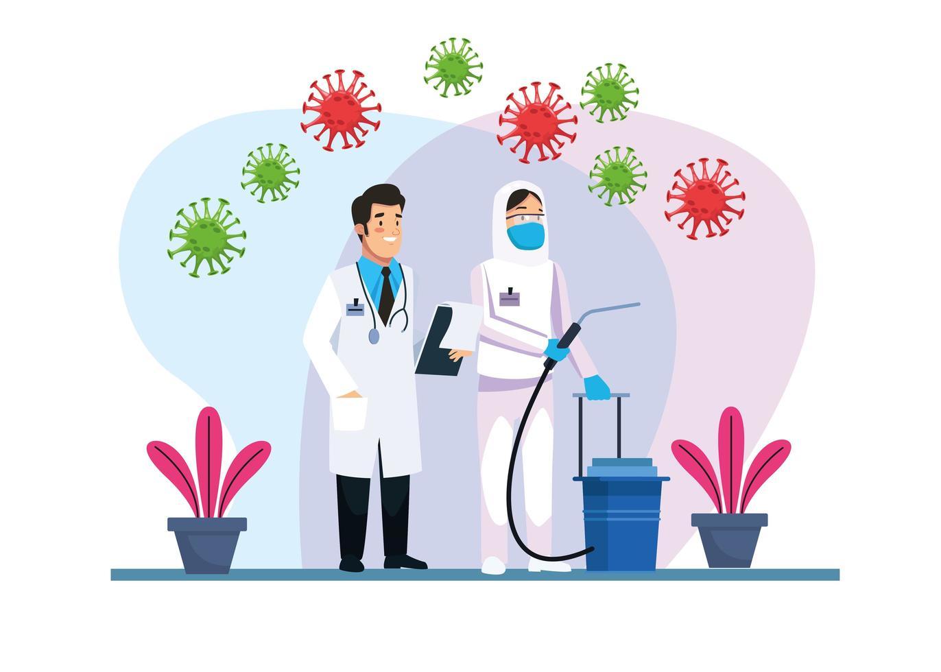 médico y persona de limpieza de riesgo biológico vector