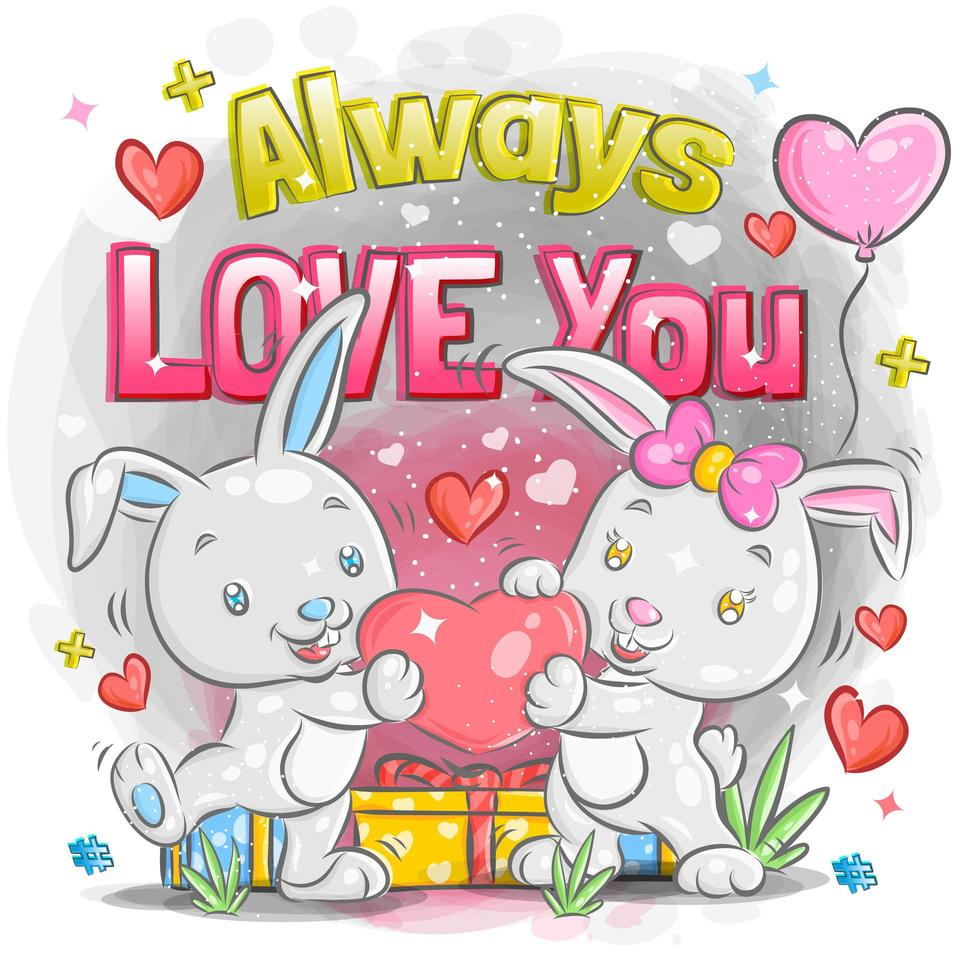 Cute Rabbit Couple Feeling in Love on Valentine's Day vector