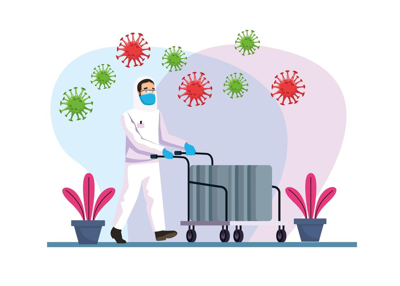 Persona de limpieza de riesgo biológico con partículas de covid 19 vector