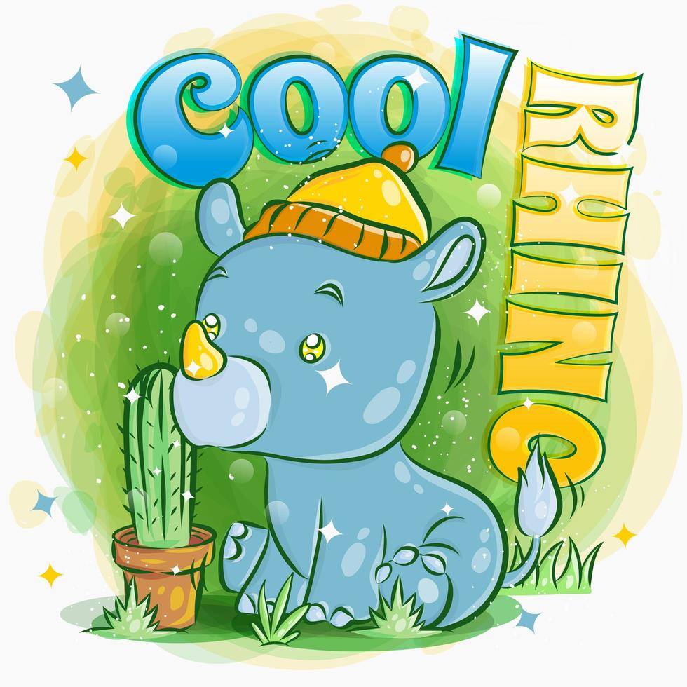 Cute Rhino Wears a Hat and Sits in Grass vector