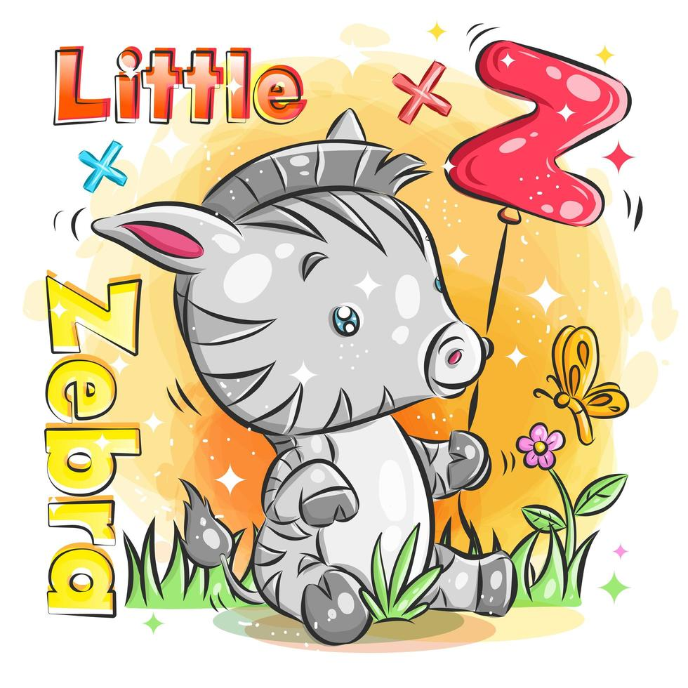 Cute Little Zebra Holds Red Balloon with Initial Z vector