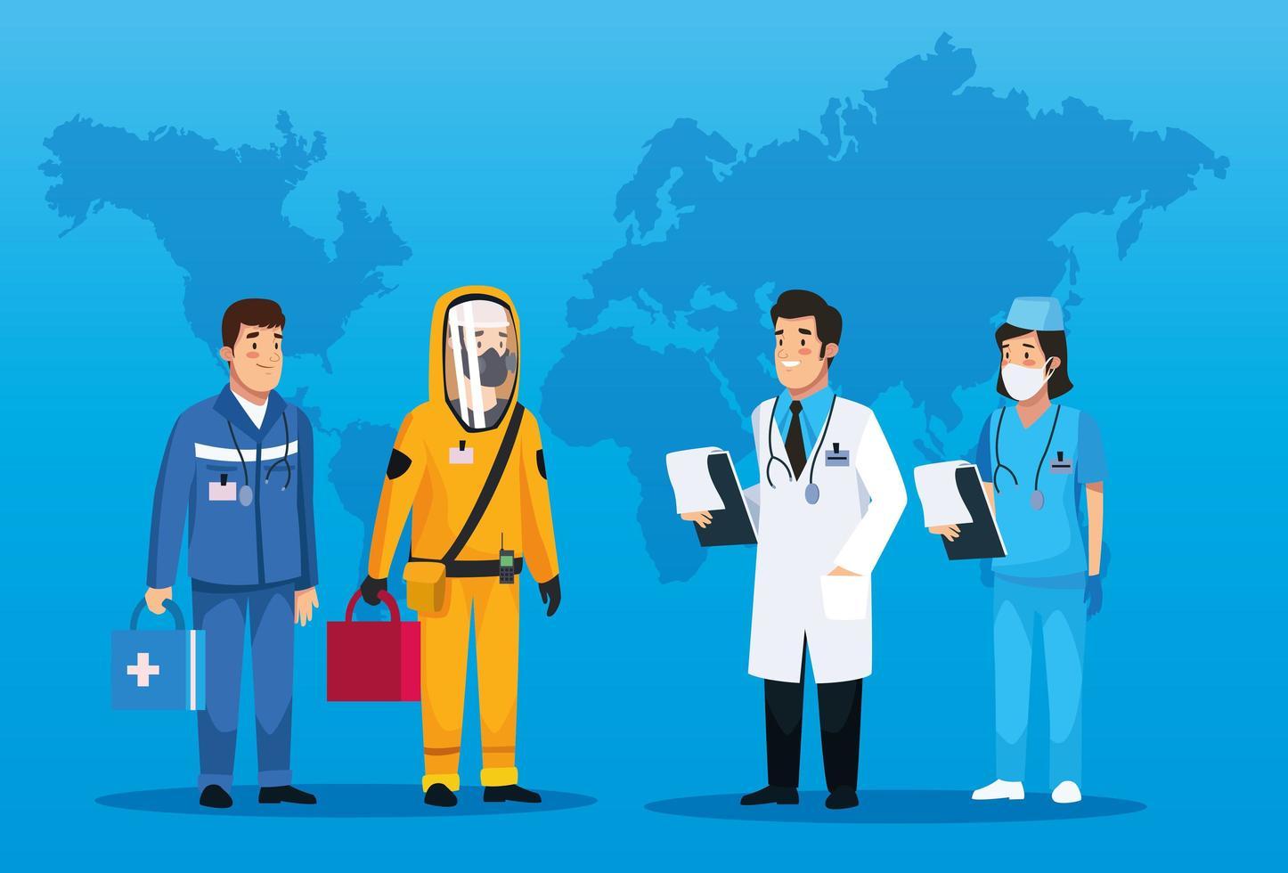 personal médico de trabajo en equipo que se ocupa de covid 19 vector
