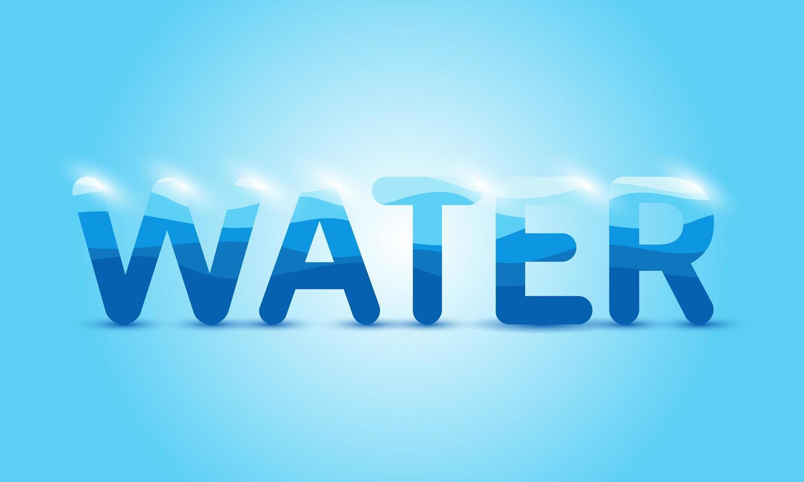 texto de agua brillante en azul vector