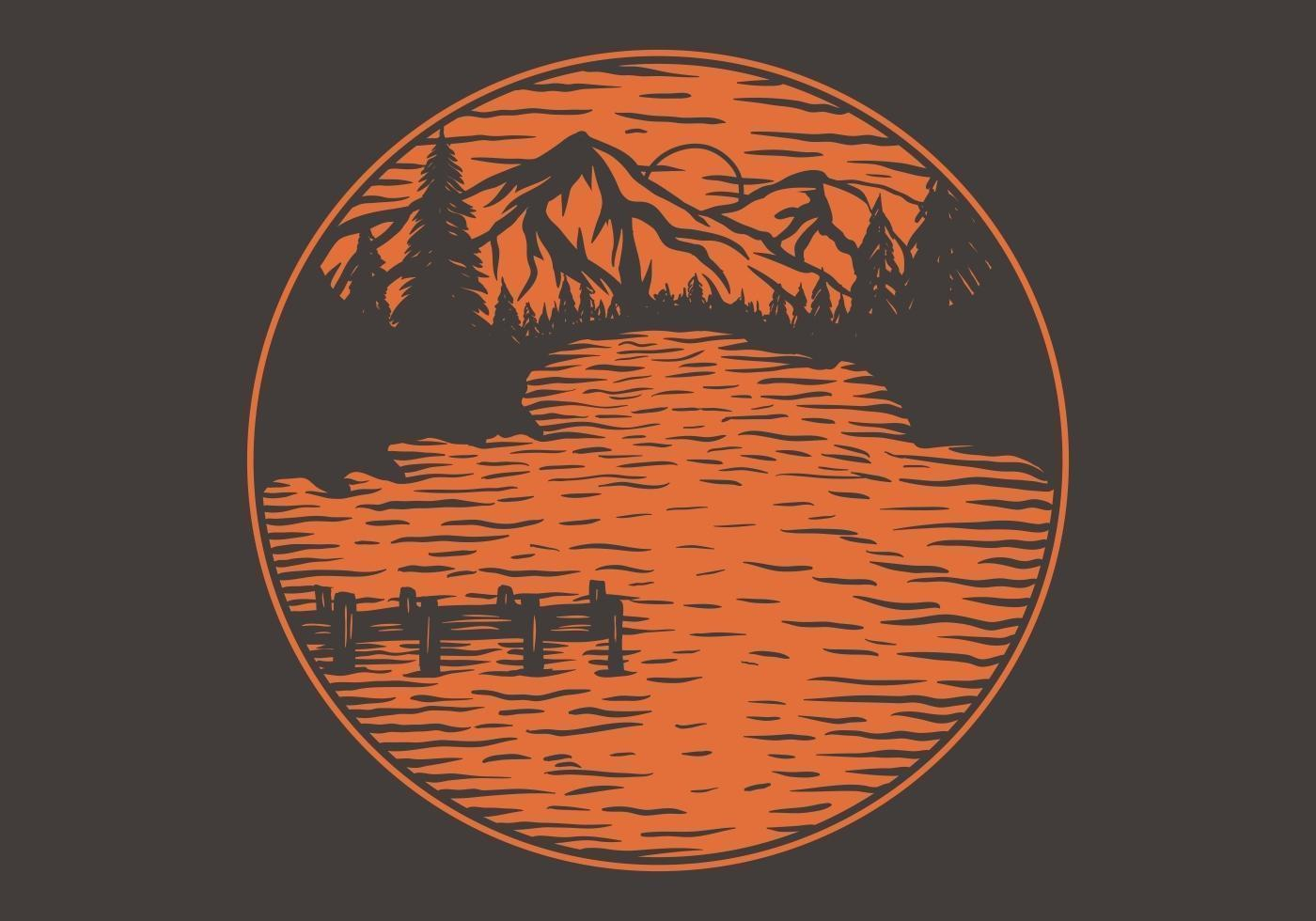 Lake views circular emblem vector