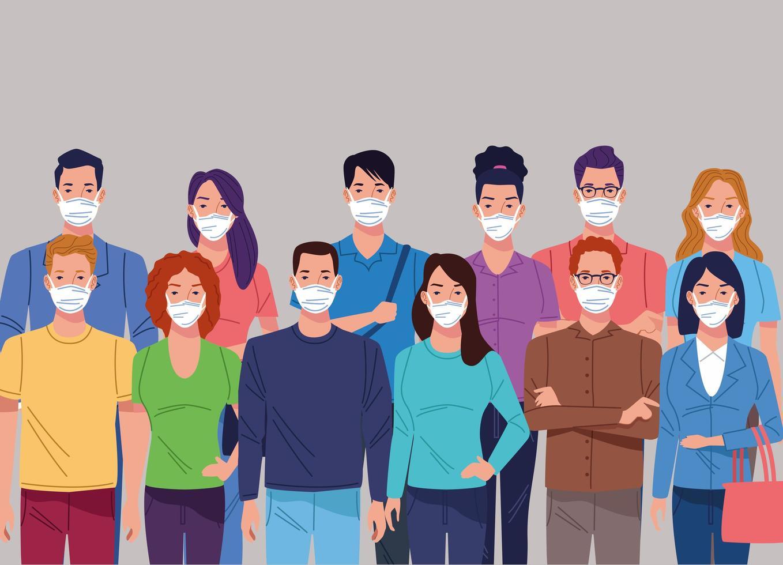 multitud de personas que usan una máscara facial para el coronavirus vector