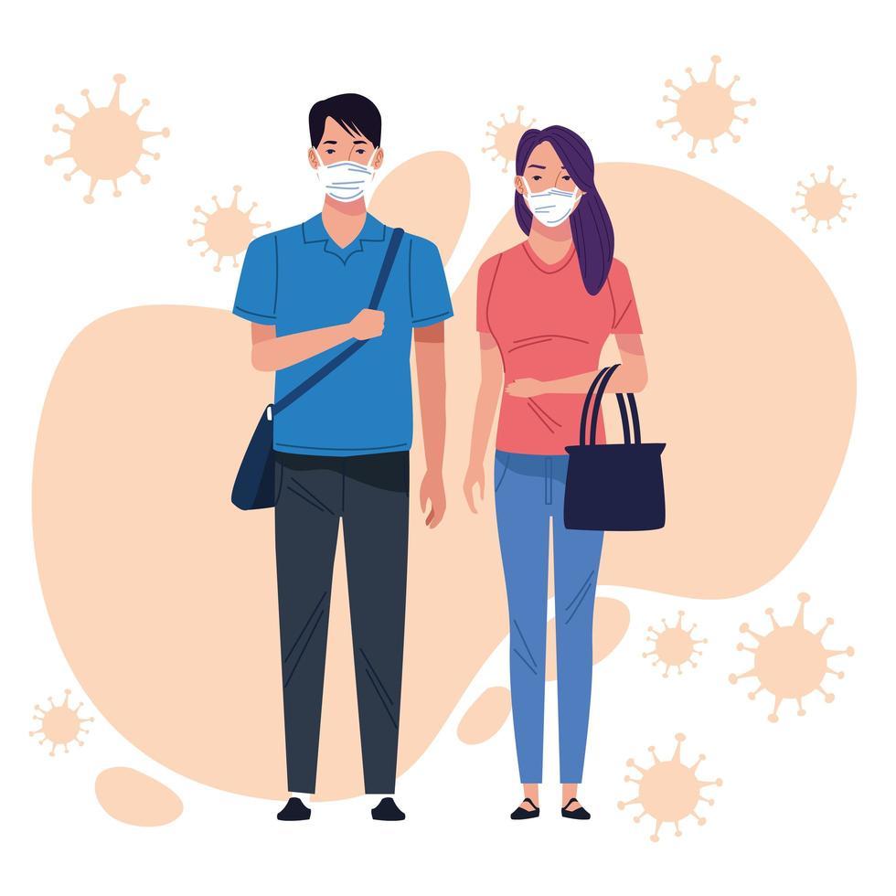 pareja con mascarilla para coronavirus vector