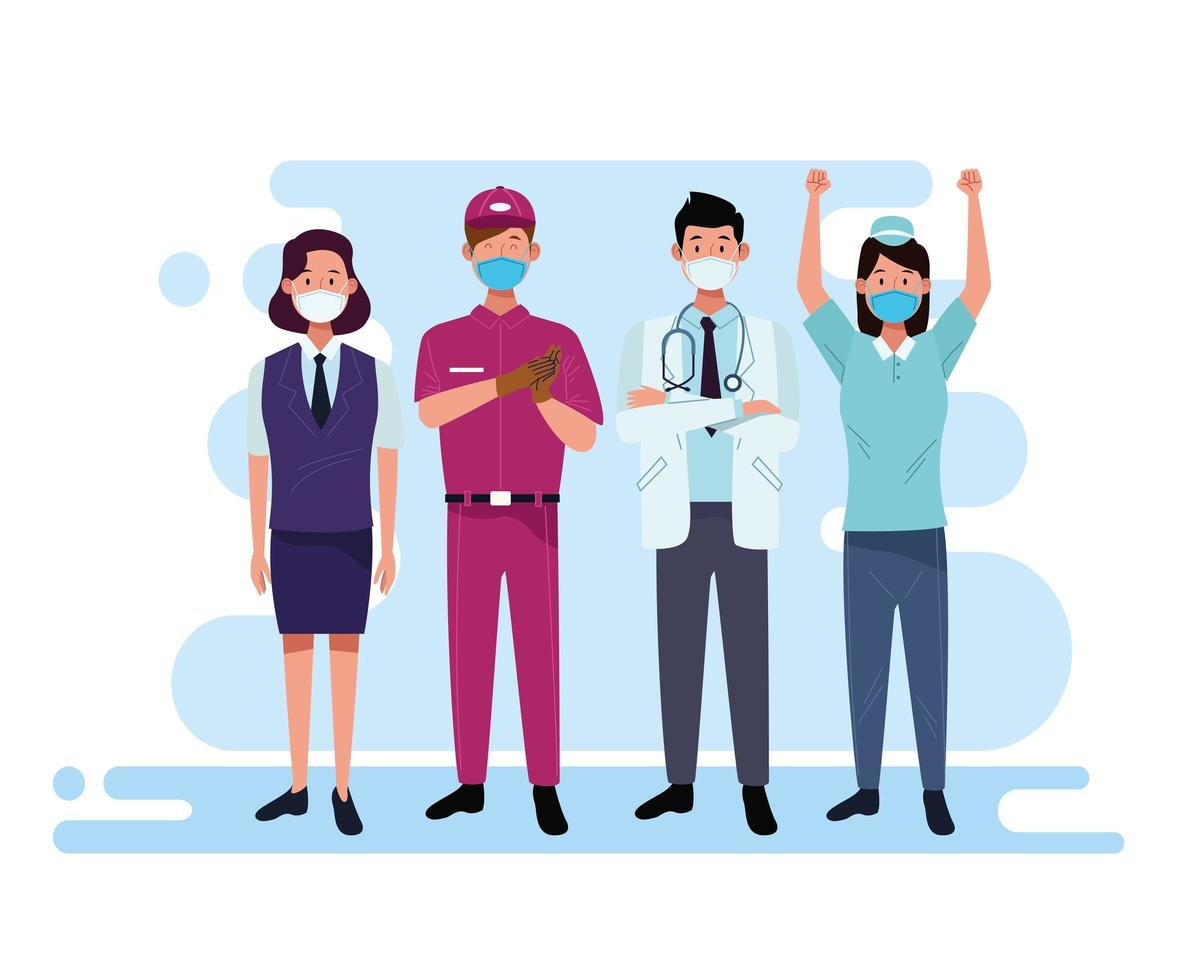 Group of workers and staff using facial masks vector