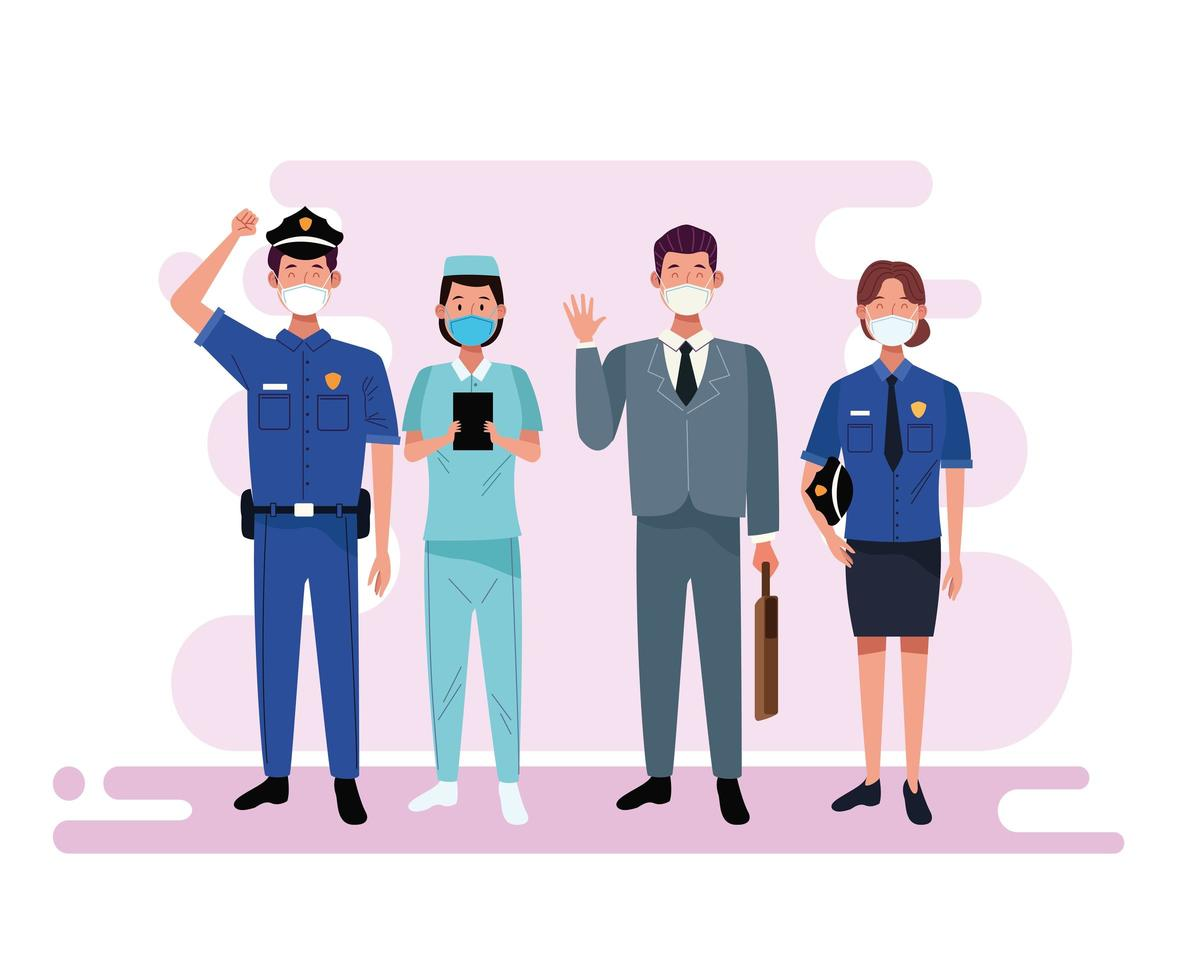 Group of workers wearing face masks vector