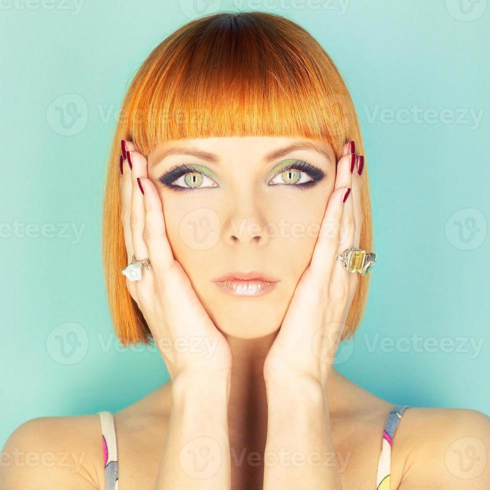 Redhead lady with bob photo