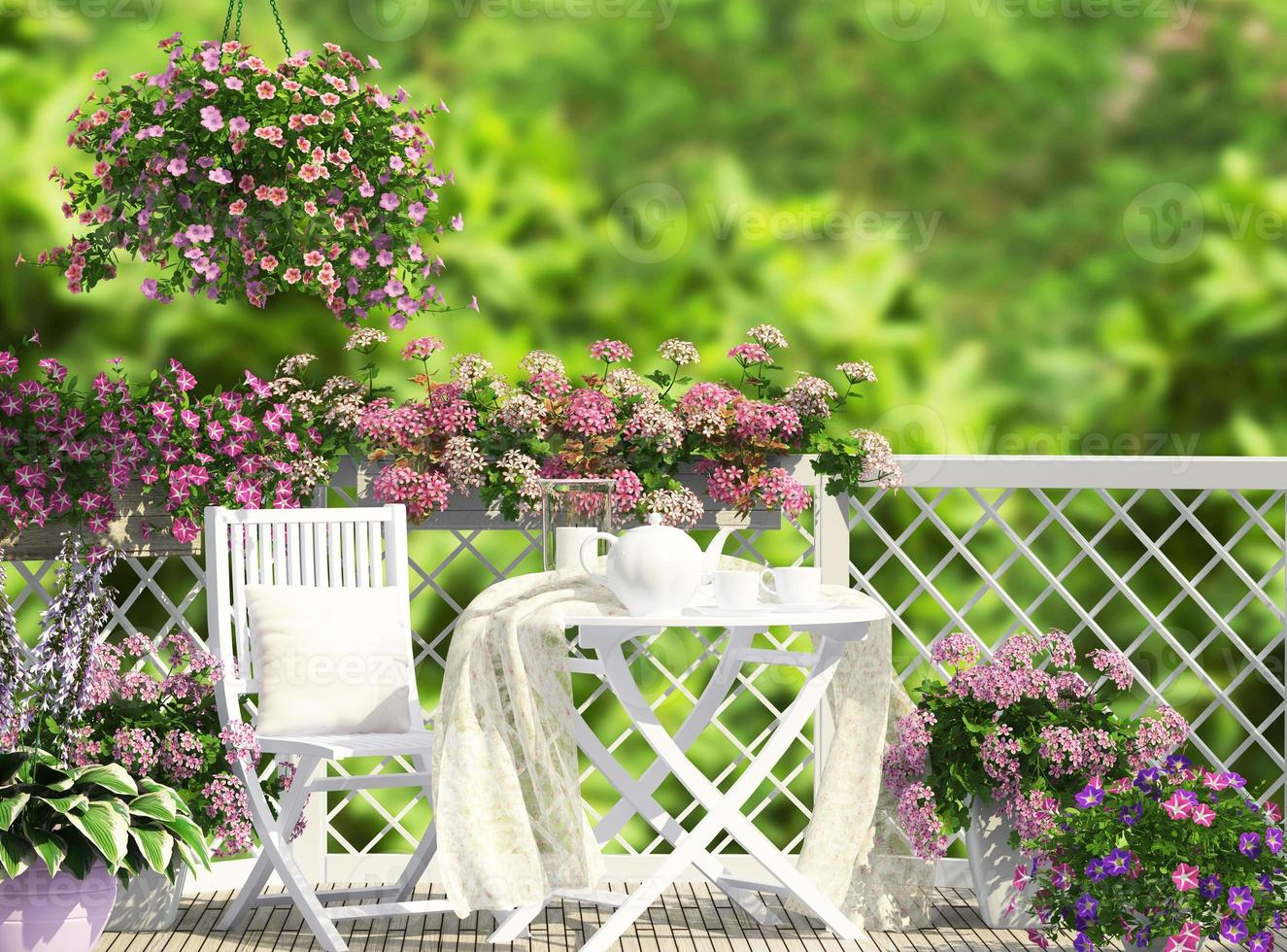 Open terrace with white furniture photo