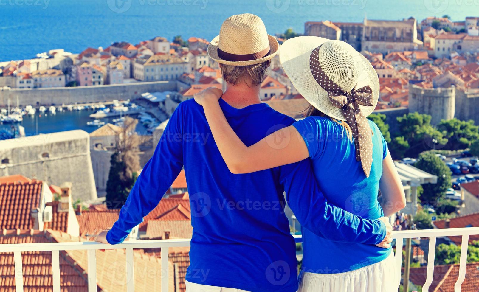 happy couple on summer vacation in Croatia photo