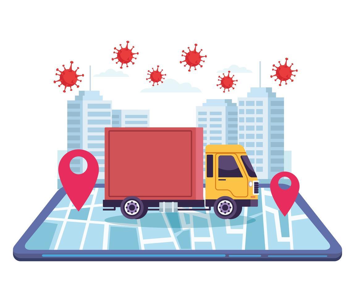 Servicio en línea de entrega de vehículos de camión con partículas covid 19. vector