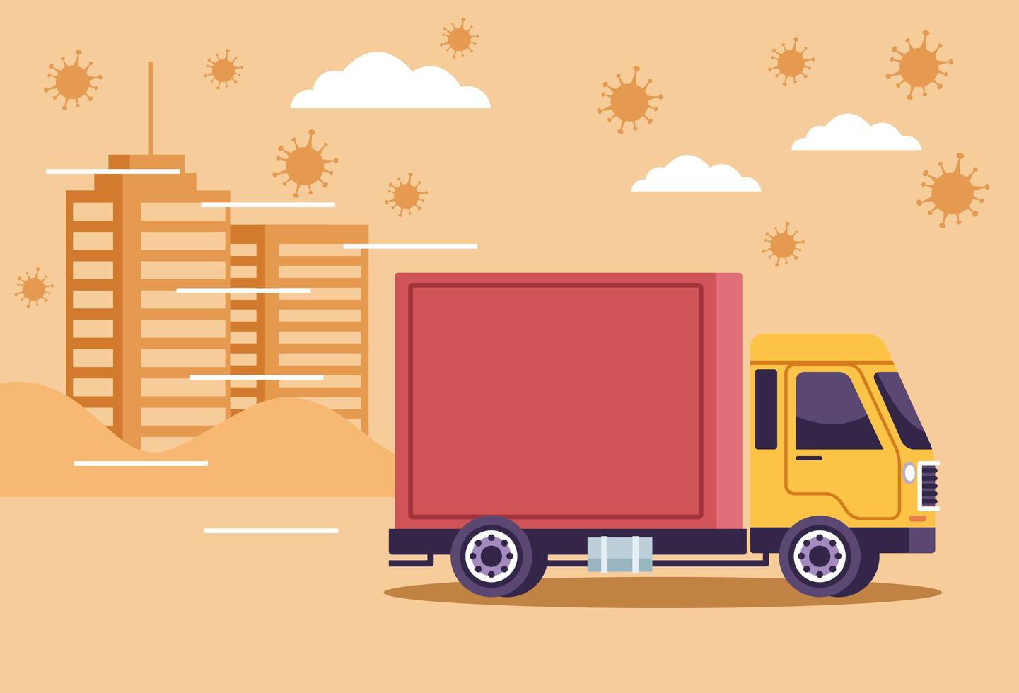 Truck delivery with COVID 19 viruses vector